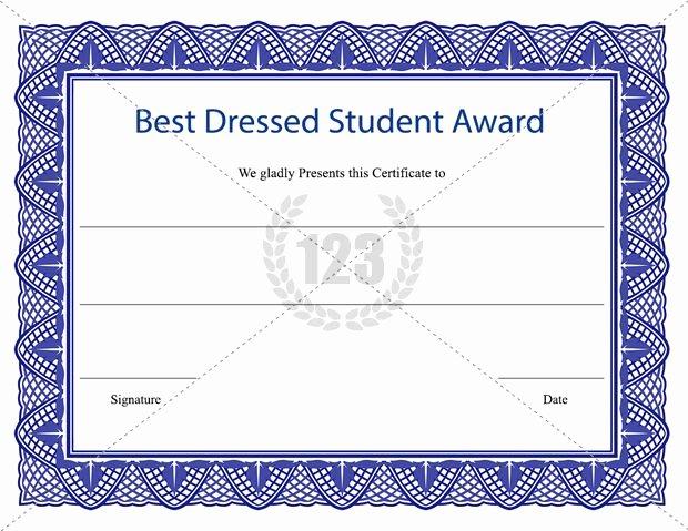 Best Dressed Award Certificate Best Of Best Dressed Student Award Certificate Template Download