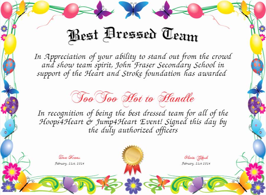 Best Dressed Award Certificate Fresh Activity Shelter