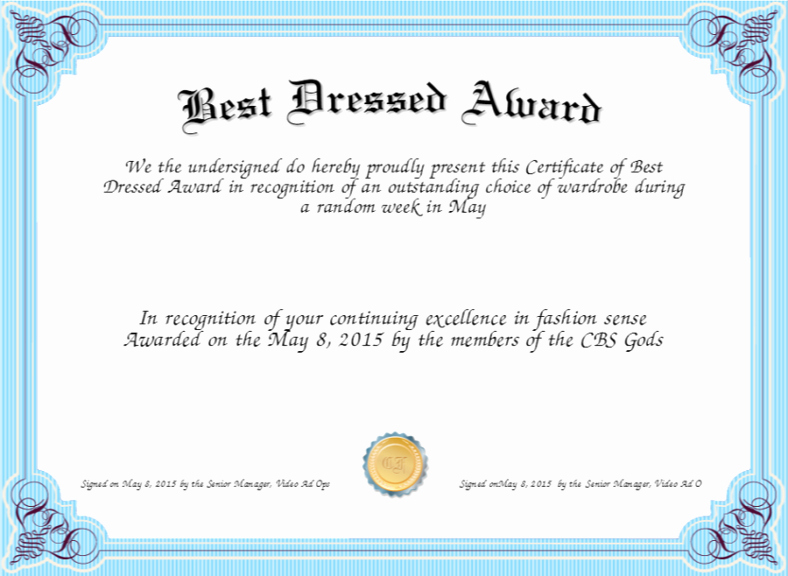 Best Dressed Award Certificate Inspirational Index Of Wp Content 2017 05