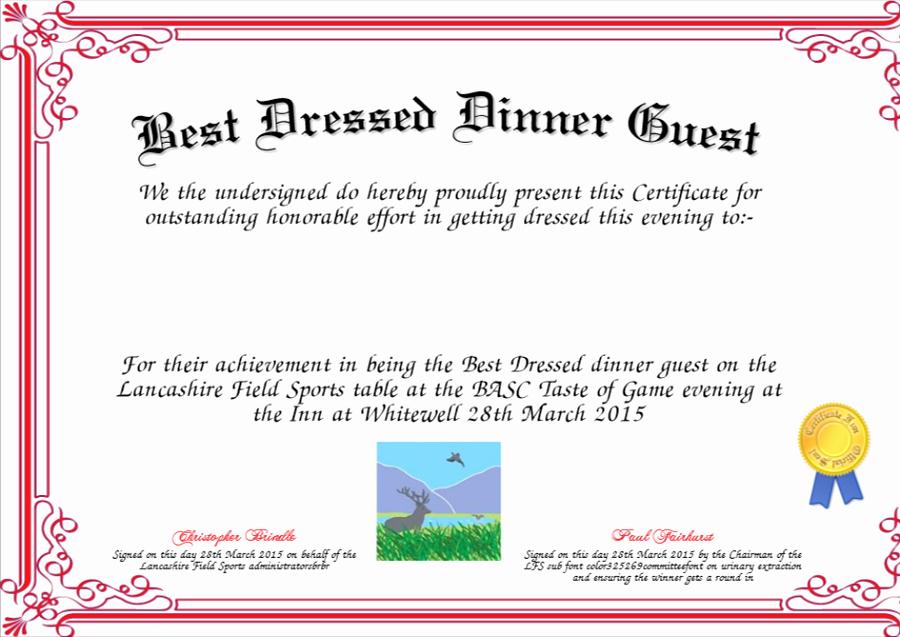 Best Dressed Award Certificate Luxury Best Dressed Award Certificates Printable