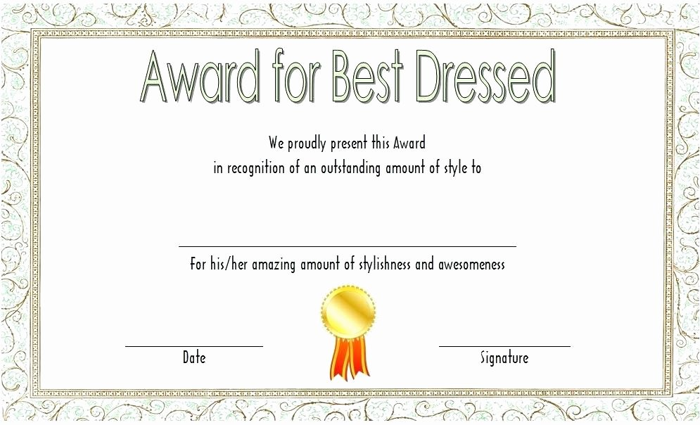 Best Dressed Award Certificate Unique Best Dressed Award Template – Simplishfo