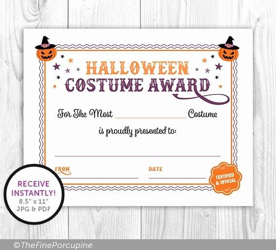 Best Dressed Award Certificate Unique Certificate Best Halloween Costume Award Halloween Party
