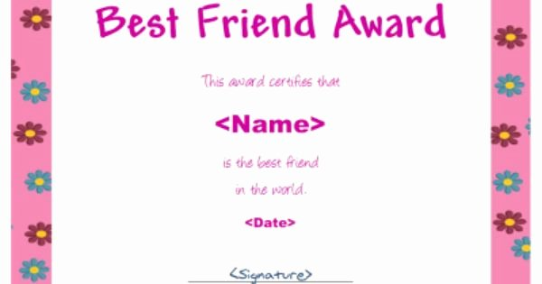 Best Friend Award Certificate Awesome Best Friend Award for Girls