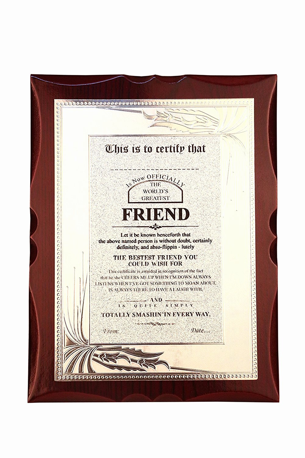 Best Friend Award Certificate Awesome Gift for Friend World S Best Friend Premium Certificate