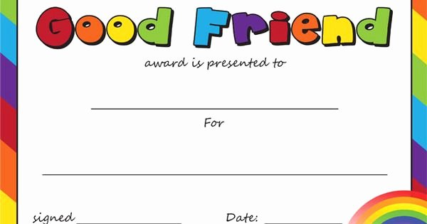 Best Friend Award Certificate Beautiful Teacher S Pet the Good Friend Award Certifiicate