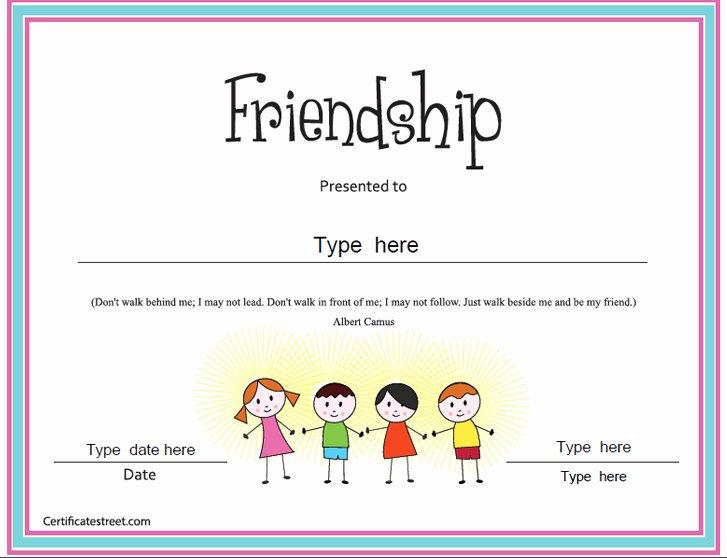 Best Friend Award Certificate Best Of Special Certificates Friendship Certificate