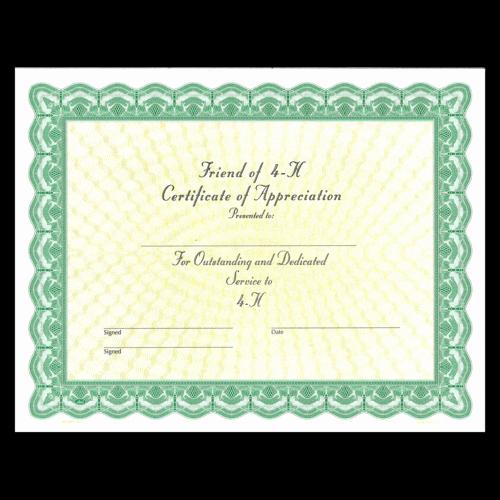 Best Friend Award Certificate Elegant Friend Of 4 H Certificate 25 Pack