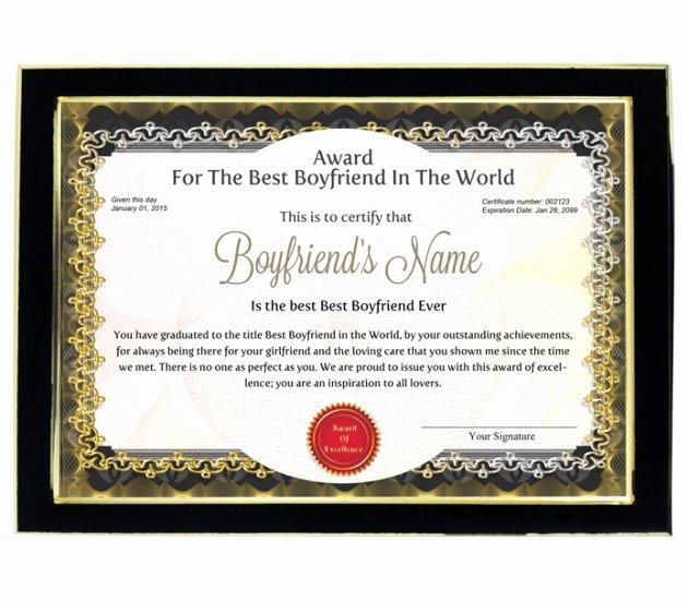 Best Friend Award Certificate Elegant Personalized Award Certificate for Worlds Best Boyfriend
