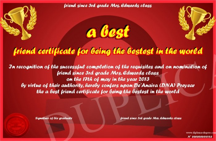 a best friend certificate for being the bestest in the world