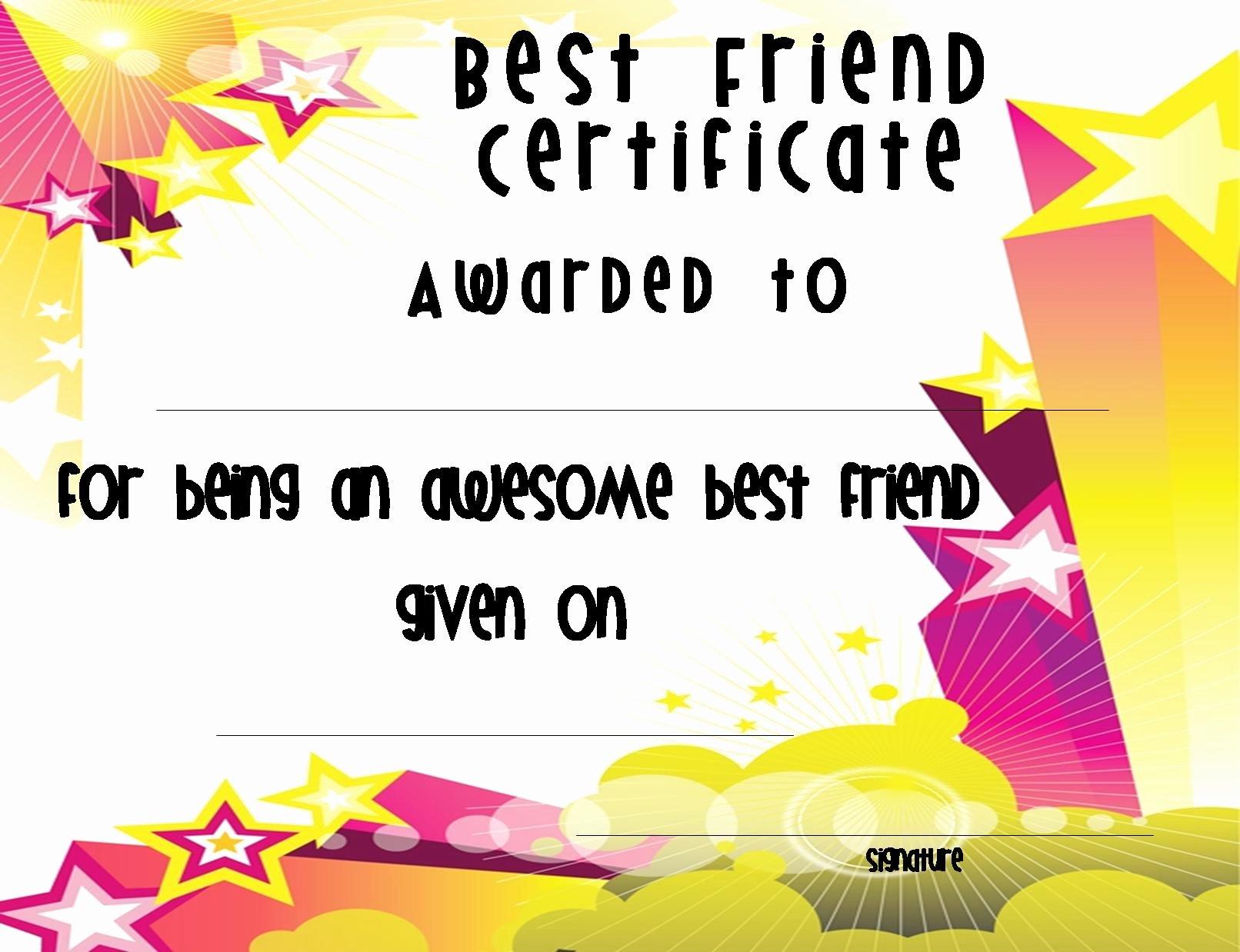 Best Friend Award Certificate Luxury Best Friend Award Printable Certificate to Pin On