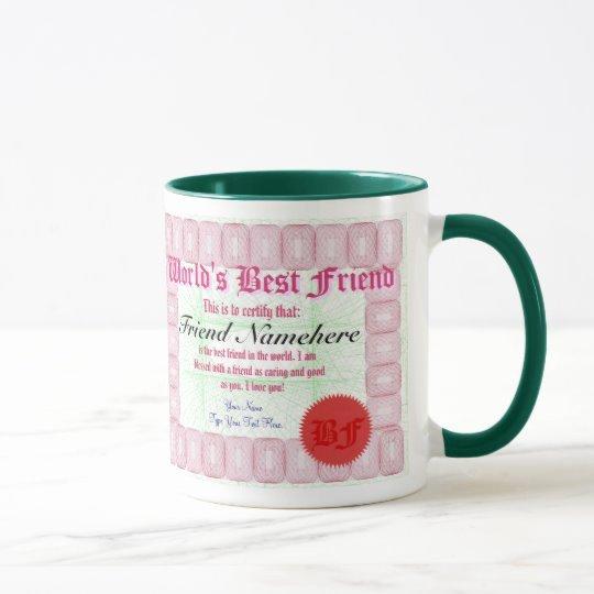 Best Friend Award Certificate Luxury World S Best Friend Certificate Award Mug