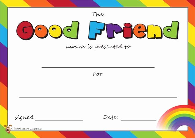 Best Friend Award Trophy Inspirational Teacher S Pet the Good Friend Award Certifiicate