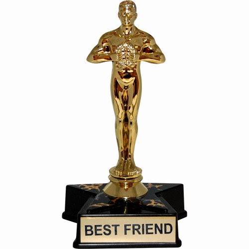 "Best Friend Award Trophy Lovely Hollywood Award Trophy Statue Reads ""best Friend"""