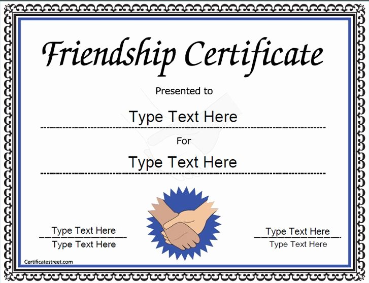 Best Friend Ever Award Best Of Special Certificate Friendship Certificate