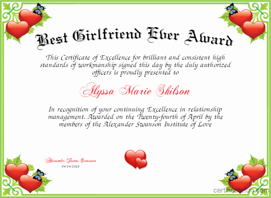 Best Friend Ever Award Fresh Best Girlfriend Ever Award Certificate