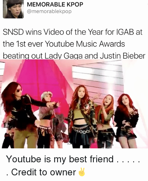 Best Friend Ever Award New Memorable Kpop Pop Snsd Wins Video Of the Year for Igab at