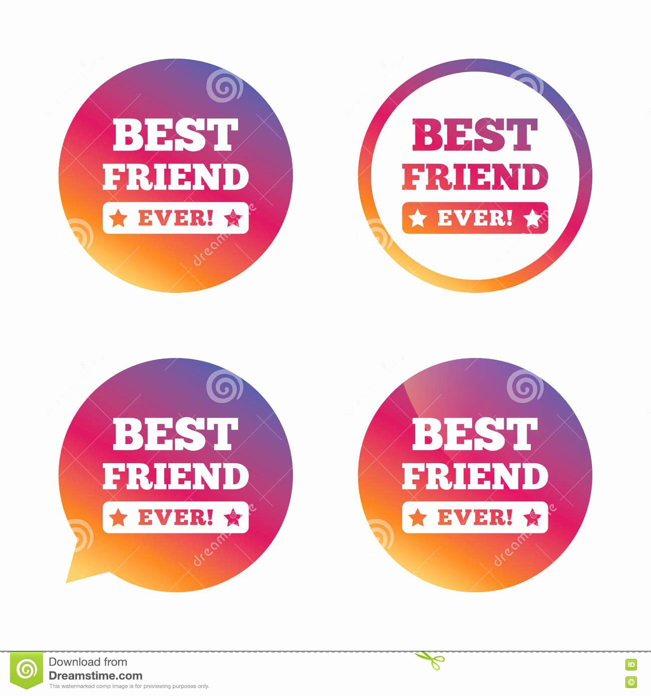 Best Friend Ever Award Unique Best Friend Ever Sign Icon Award Symbol Stock Vector