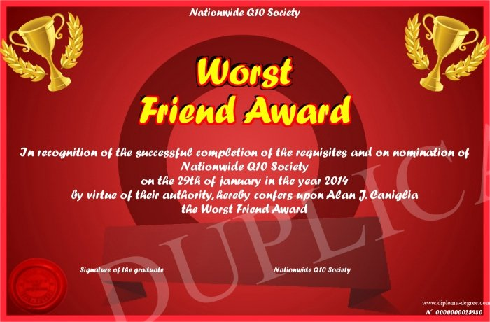 Best Friend Ever Award Unique Worst Friend Award
