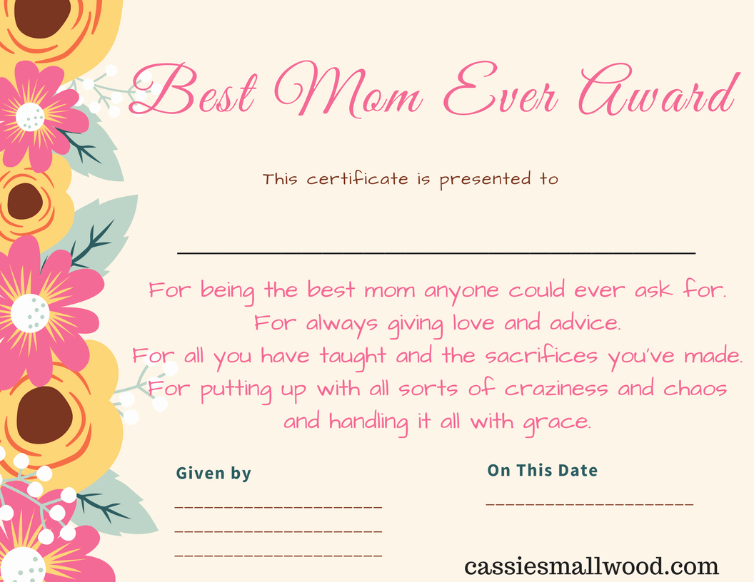 Best Friend Of the Year Award Beautiful Free Mother S Day Printable Certificate Awards for Mom and
