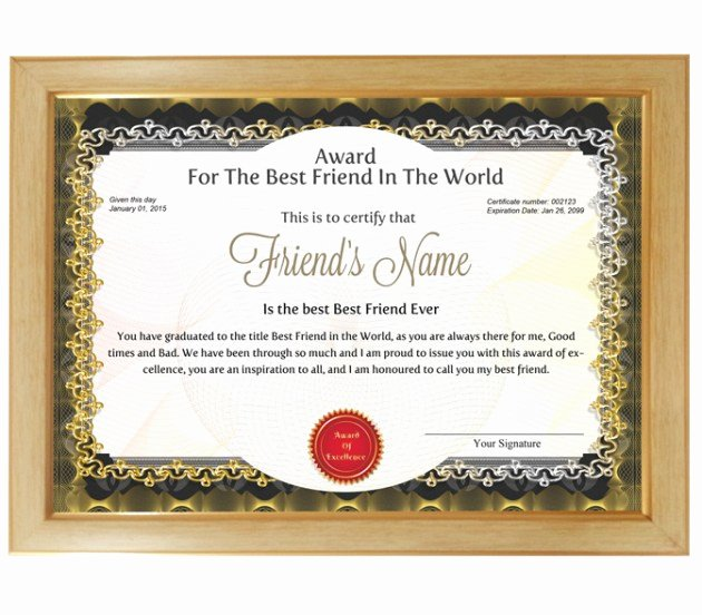 Best Friend Of the Year Award Beautiful Personalized Award Certificate for Worlds Best Friend with