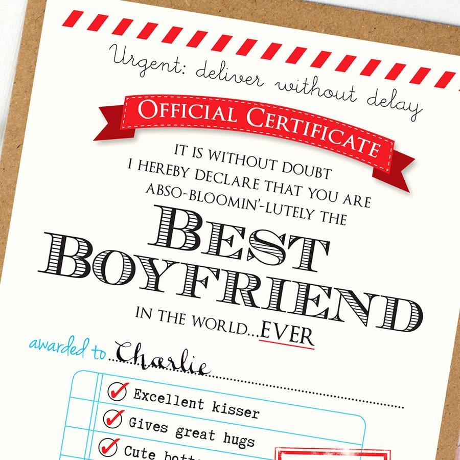 Best Friend Of the Year Award Elegant Personalised Best Boyfriend Certificate by Eskimo Kiss