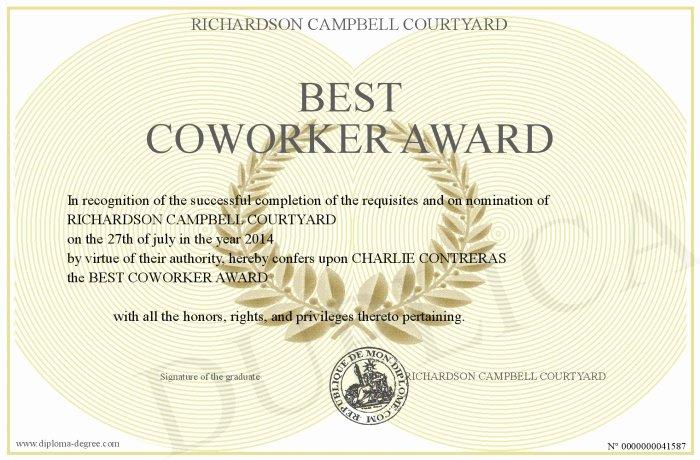 Best Friend Of the Year Award Luxury Best Coworker Award
