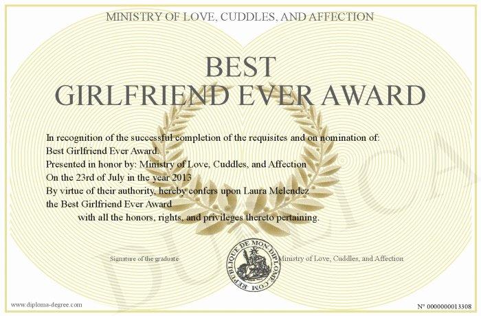 Best Girlfriend Ever Award Elegant Best Girlfriend Ever Award