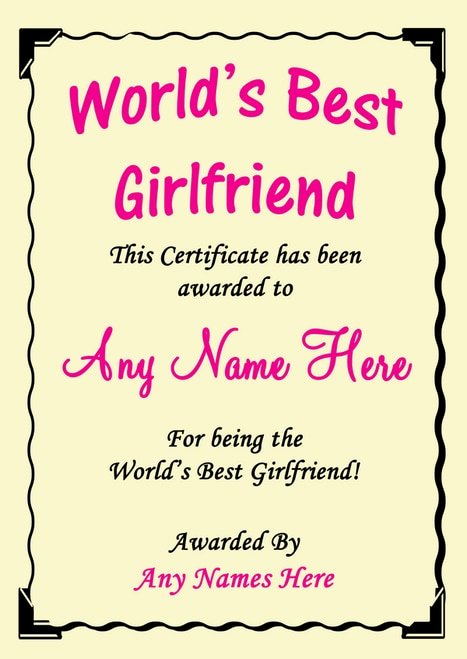 Best Girlfriend Ever Award Elegant Girlfriend Best In the World Award Personalised