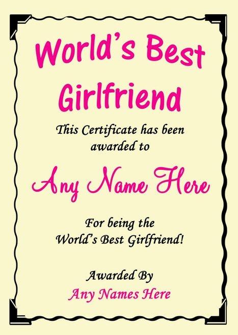 Best Girlfriend Ever Award Elegant Girlfriend Best In the World Award Personalised