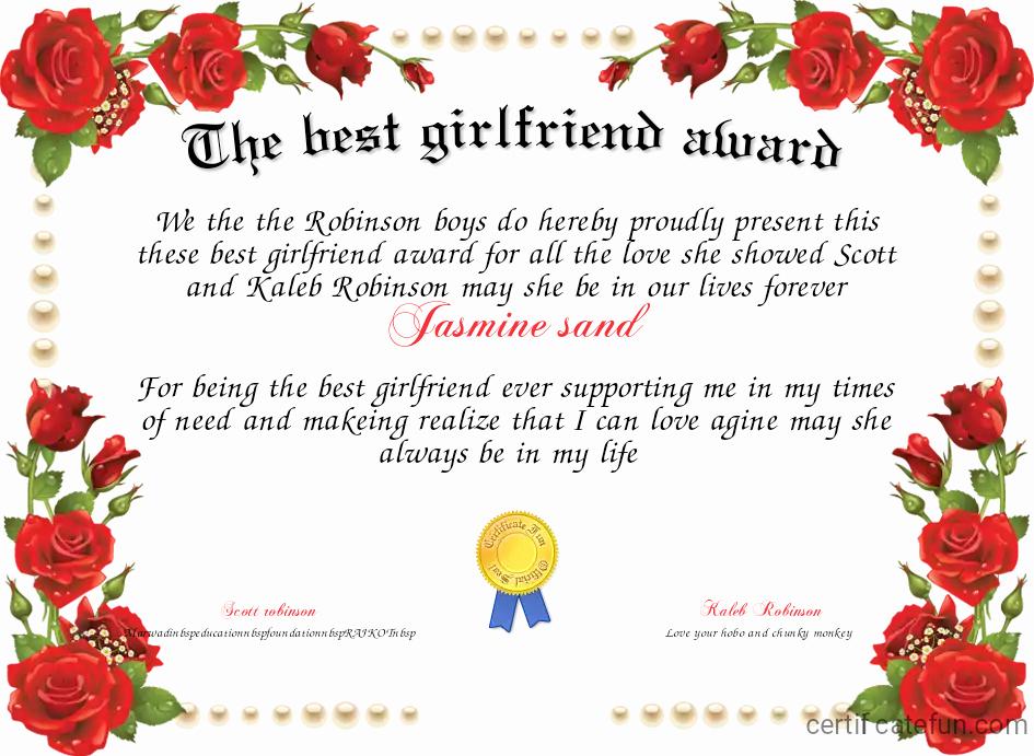Best Girlfriend Ever Award Elegant the Best Girlfriend Award Certificate