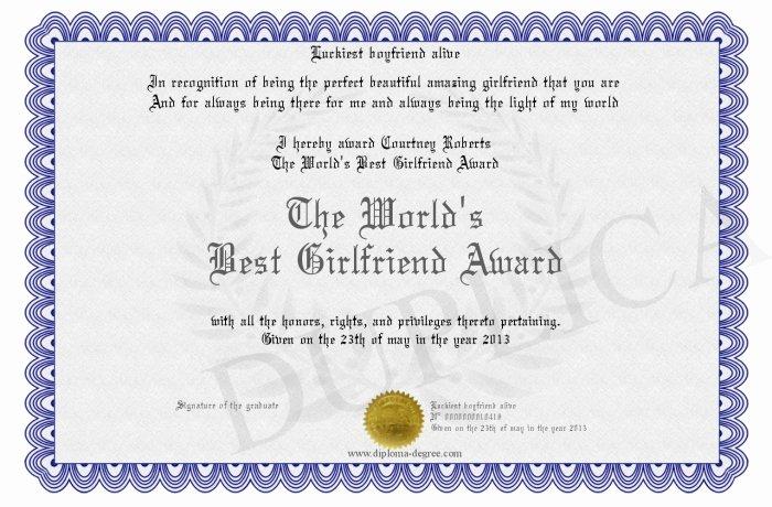 Best Girlfriend Ever Award Elegant the World S Best Girlfriend Award