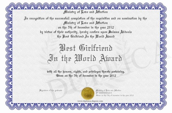Best Girlfriend Ever Award Inspirational Best Girlfriend In the World Award