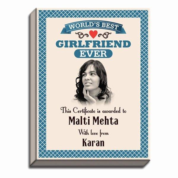 Best Girlfriend Ever Award Inspirational World S Best Girlfriend Award Canvas Print