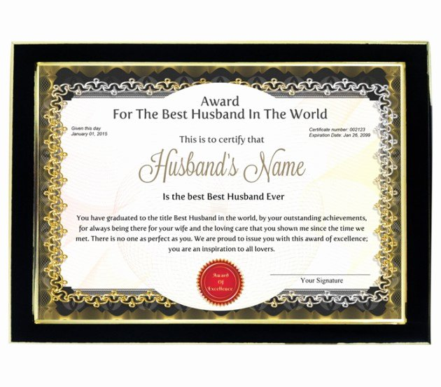 award certificate for worlds best husband with frame