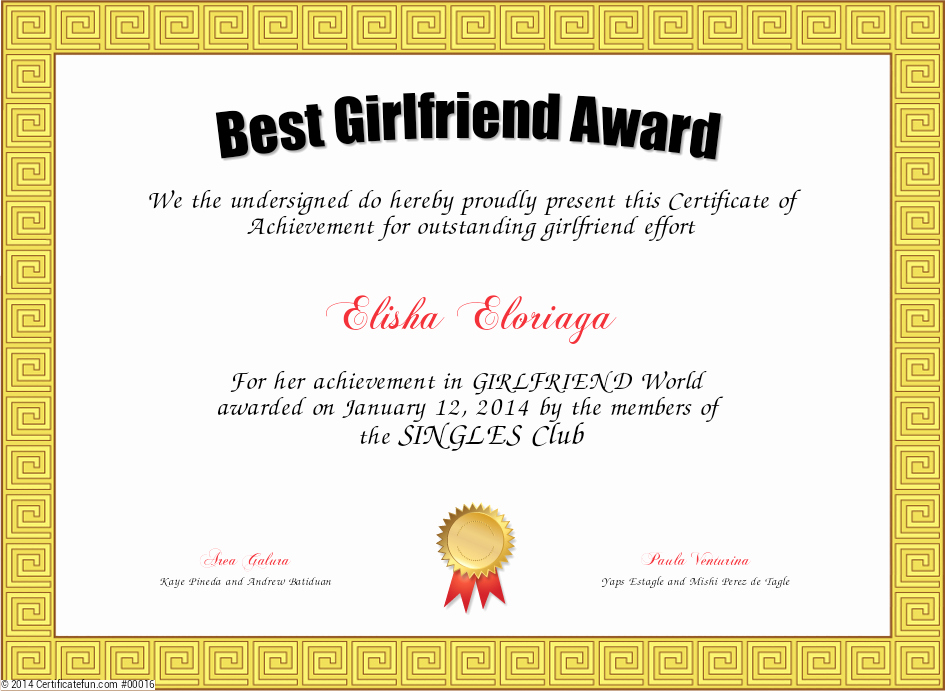 Best Girlfriend Ever Trophy Awesome Best Girlfriend Award Certificate