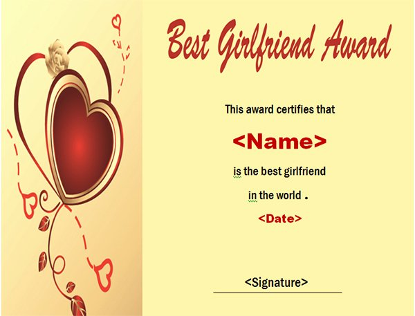 Best Girlfriend Ever Trophy Elegant Printable Award Certificate Templates