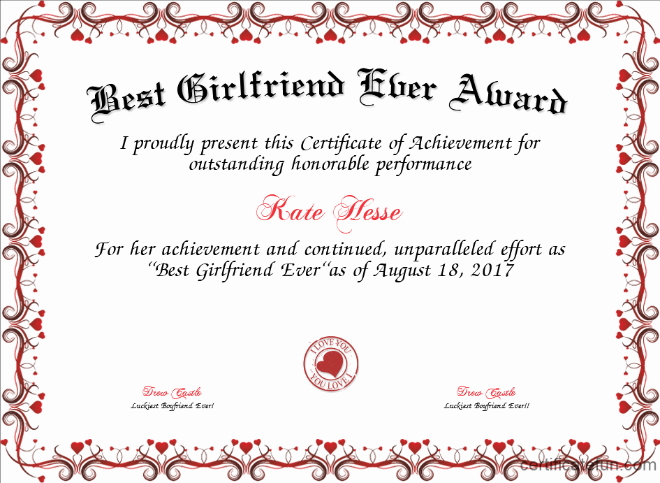 Best Girlfriend Ever Trophy Fresh Best Girlfriend Ever Award Certificate