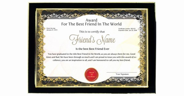 Best Girlfriend Ever Trophy New Personalized Award Certificate for Worlds Best Friend with