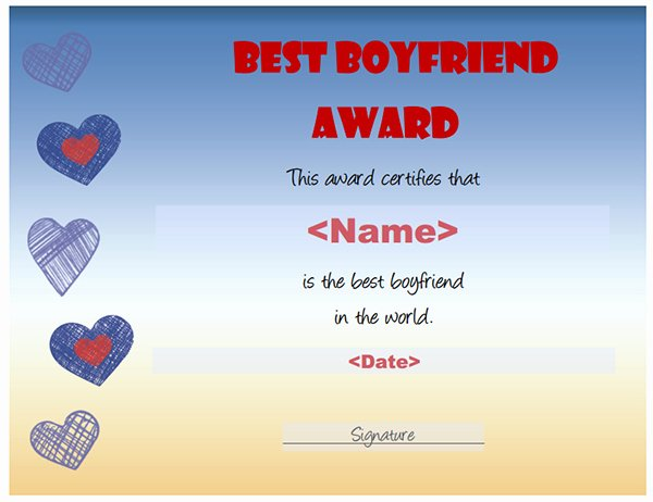 Best Girlfriend Of the Year Award Awesome Printable Award Certificate Templates