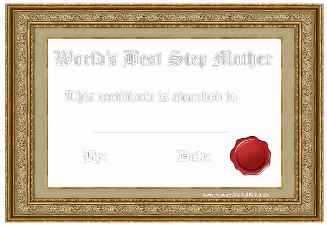 Best Mom Certificate Template Awesome Award Certificates for Stepmother