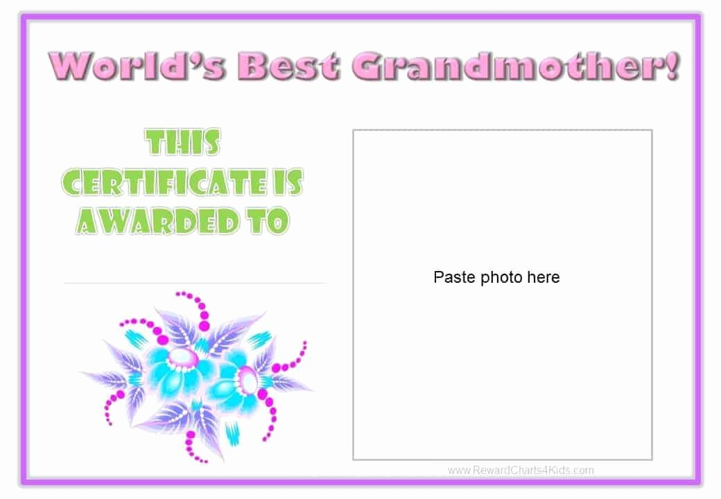 Best Mom Certificate Template Beautiful Best Grandmother Certificate