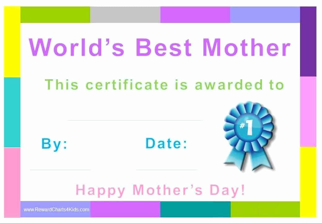 Best Mom Certificate Template Beautiful Best Mom Award