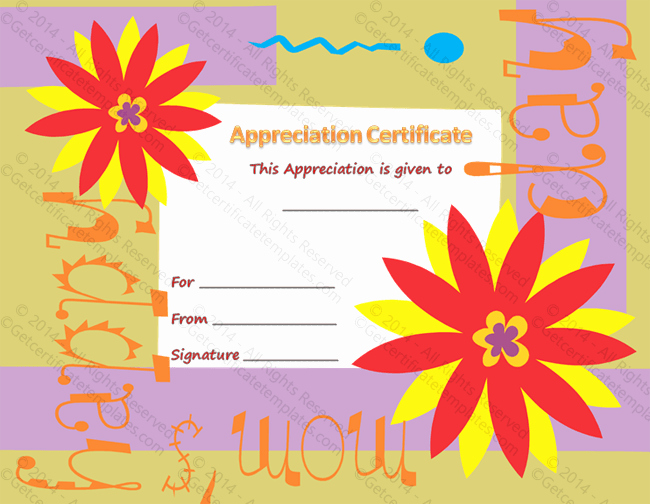 Best Mom Certificate Template Beautiful Best Mom Certificate Of Appreciation Template