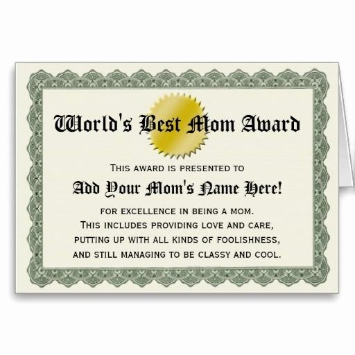 Best Mom Certificate Template Elegant World S Best Mom Award Certificate Card