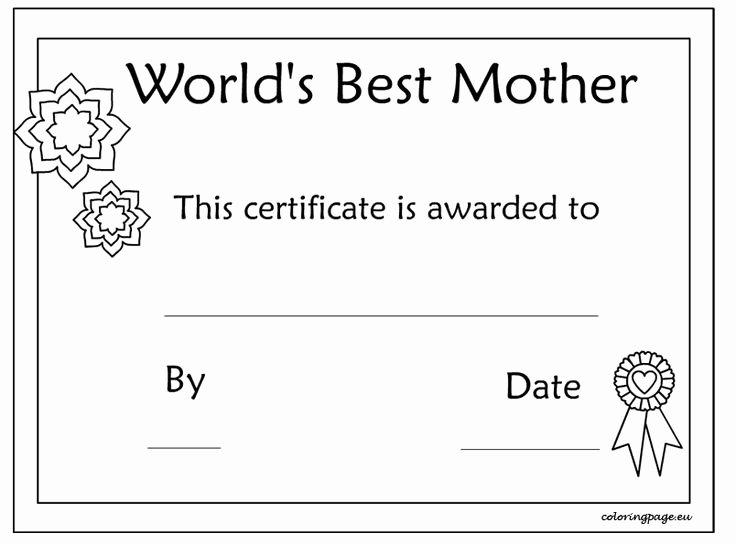 Best Mom Certificate Template Fresh and Print Certificate Of Best Mother Template