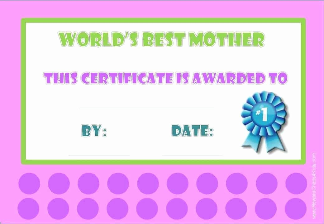 Best Mom Certificate Template Inspirational Best Mom Award