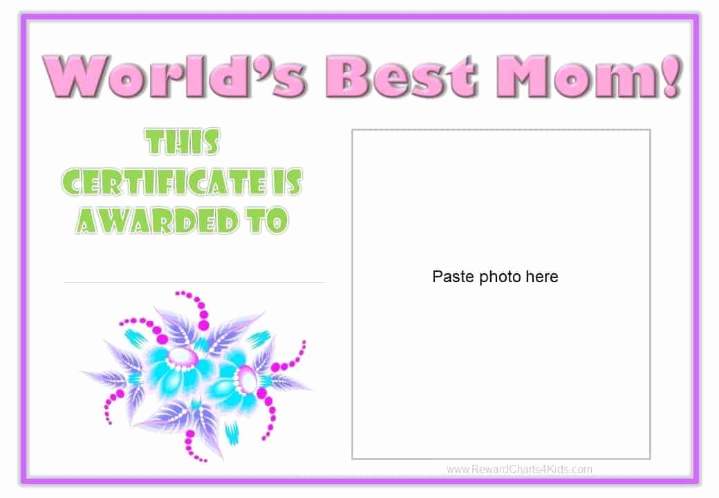 Best Mom Certificate Template New Best Mom Award