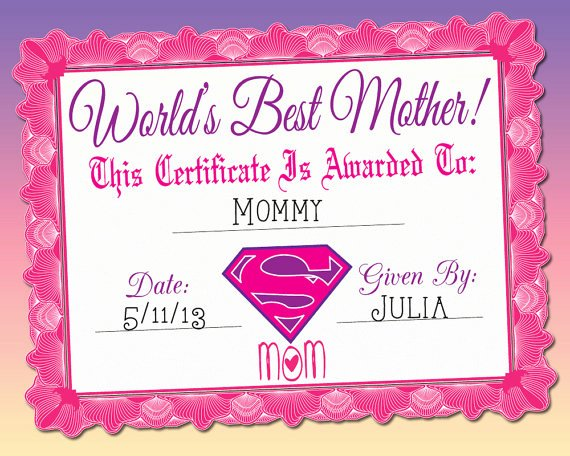 Best Mom Ever Trophy Lovely World S Best Mother Certificate Printable