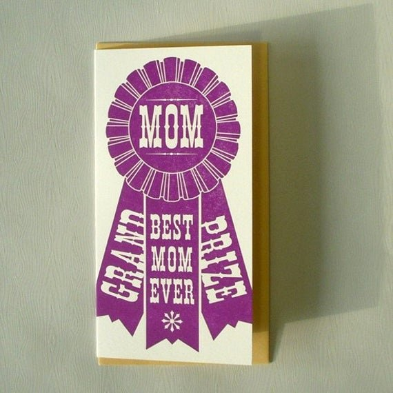 Best Mom Ever Trophy Luxury Letterpress Grand Prize Mom Ribbon Card County by