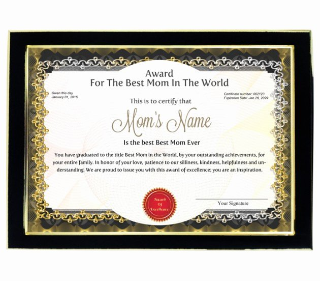 Best Mom In the World Award Awesome Personalized Award Certificate for Worlds Best Mom with Frame